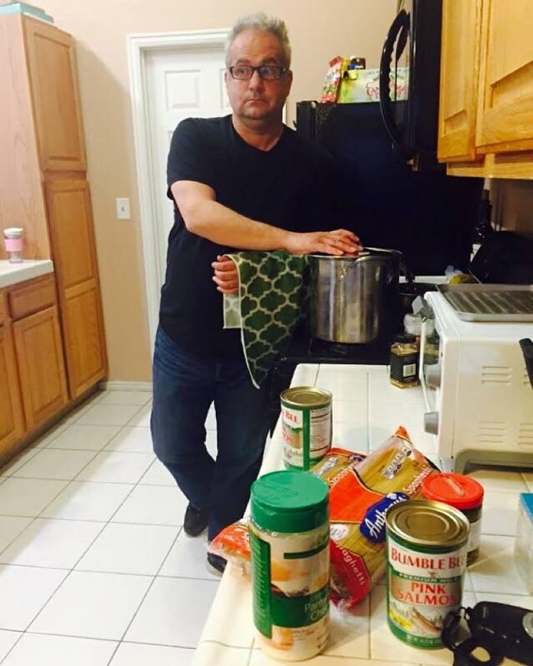 brad preparing for spaghetti surprise