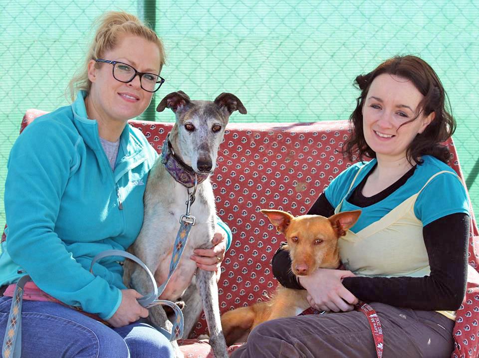 Noel and Sharon hanging out with volunteers Lauren and Karen.