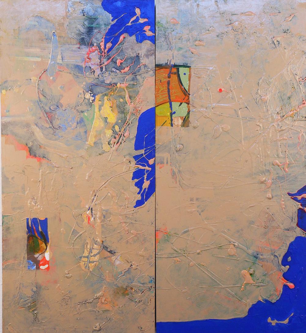 "Gemelli al Dente   Acrylic, oil, and enamel on panel  33"" X 33""  NFS"