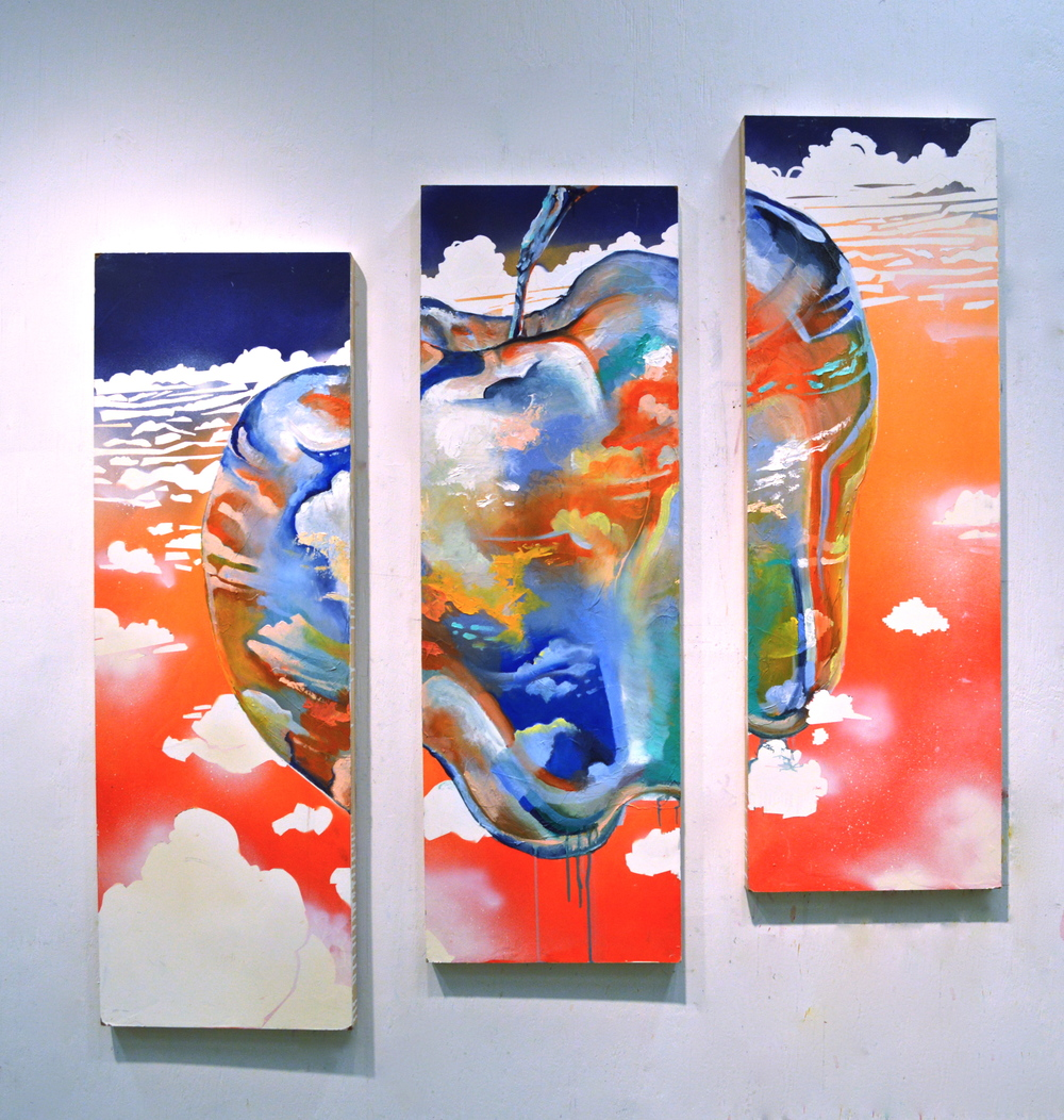 "Take and Eat  acrylic, oil, and spray paint on panel triptych  42"" X 42""  $700"