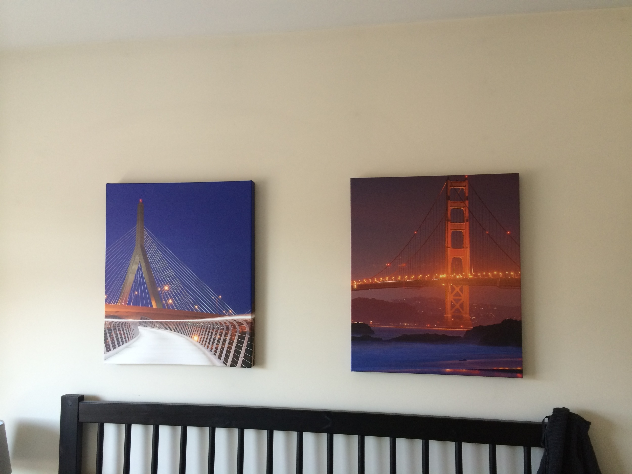 Zakim and Golden Gate Bridge printed on canvas