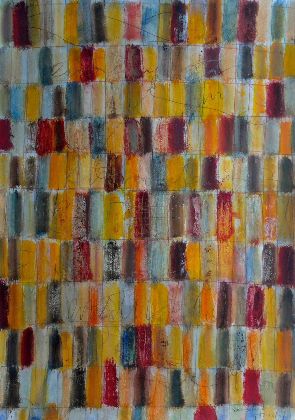 "I was living in Cairo when the ""arab revolution"" erupted in January 2011. This has certainly influenced my work but the extraordinary light of Cairo has allowed my paintings to be as colorful as they have never been before.   January 26, 15000? 30000?; acrylics on paper mounted on canvas; 110x79; 2011"
