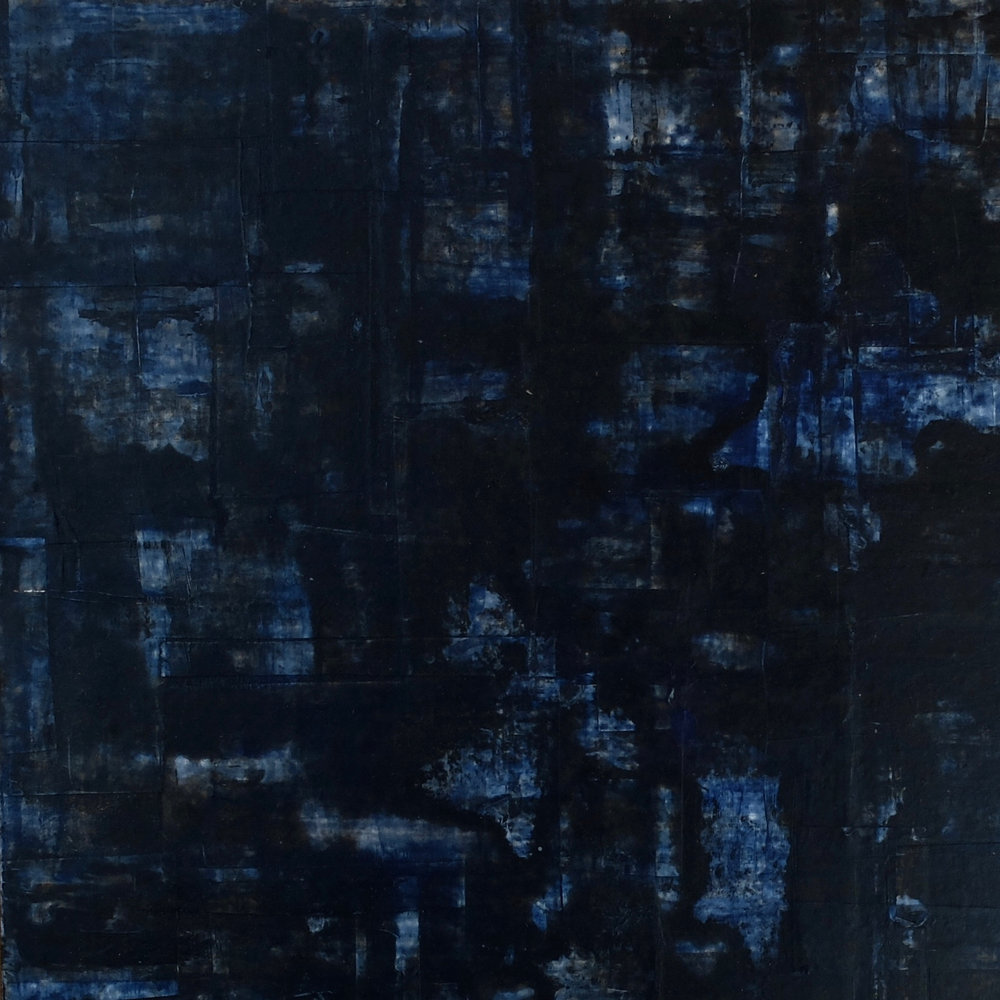 Blue doors; 40x40; mixed media on MDF; 2016