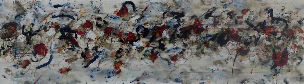 sans titre; 35x130; mixed media on canvas; 2014