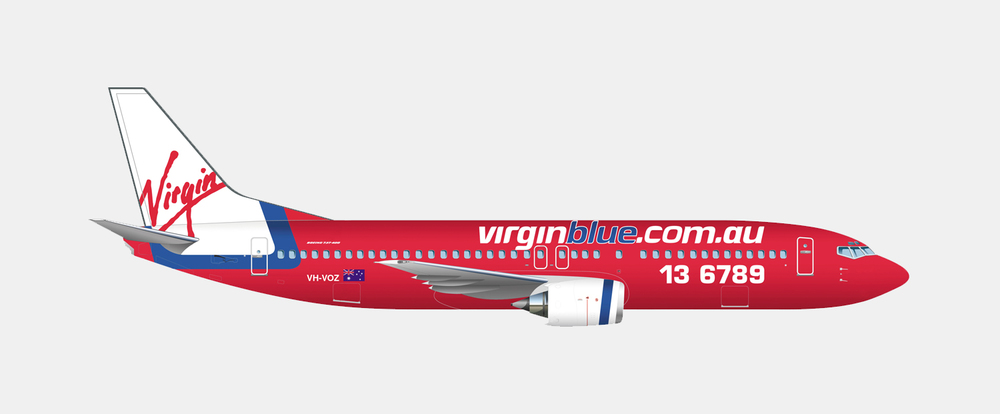 gray design virgin blue aeroplane graphics
