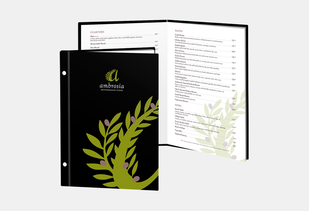 Gray Design ambrosia menu design