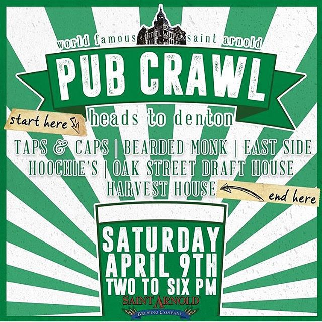 """Come out this weekend for the First Annual @saintarnoldbrewing Pub Crawl! We will be love printing at @harvesthousedenton with a few branded graphics from the brewery and a new """"Body By Beer"""" design from @otterdraw."""