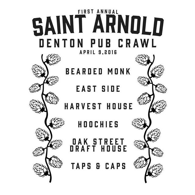 Flip side of the @saintarnoldbrewing pub crawl tee! Limited quantities available tomorrow at @harvesthousedenton only.