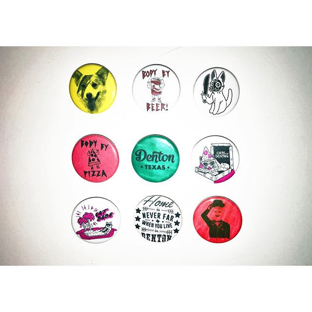 """Working on a few 1"""" button samples for @shopdenton & @catsofdenton."""