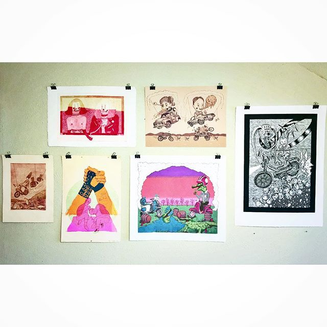 Put up a few more local artist prints today, now we've got an unofficial moped section in the studio.