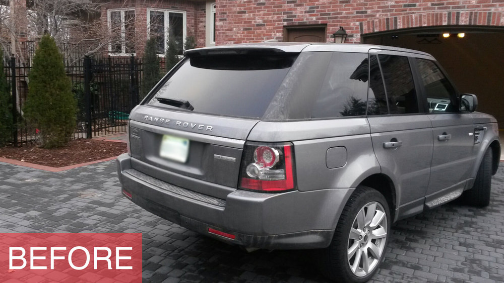 Range Rover SUV before being power washed