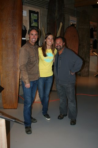 "Julie with Mike and Frank during the filming of ""The American Pickers - California Dreamin'"" episode. Photo: Dick Saar"