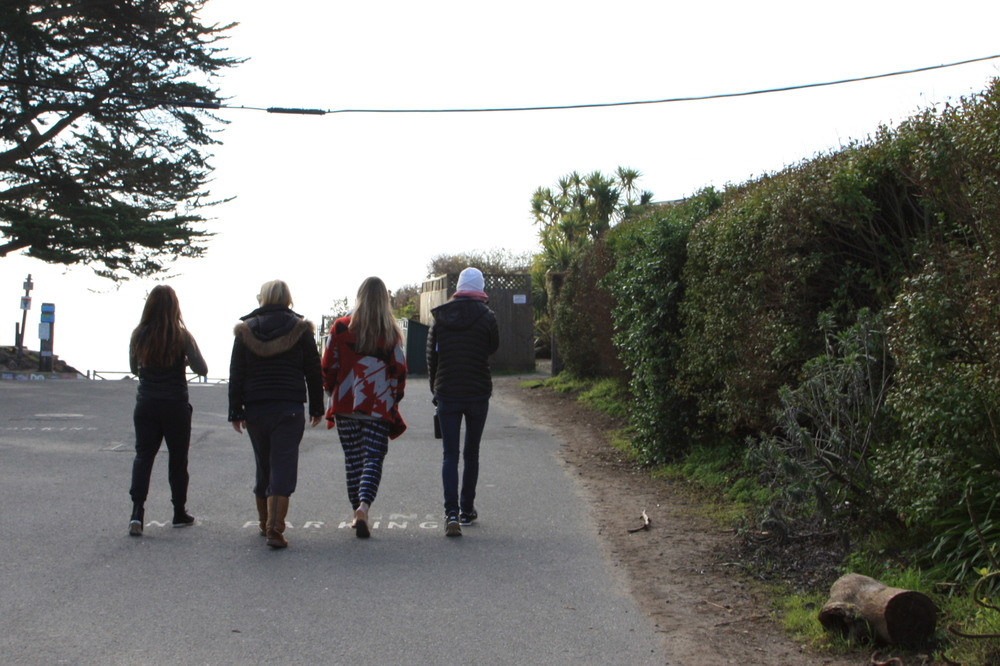Group going to check conditions in Bolinas.