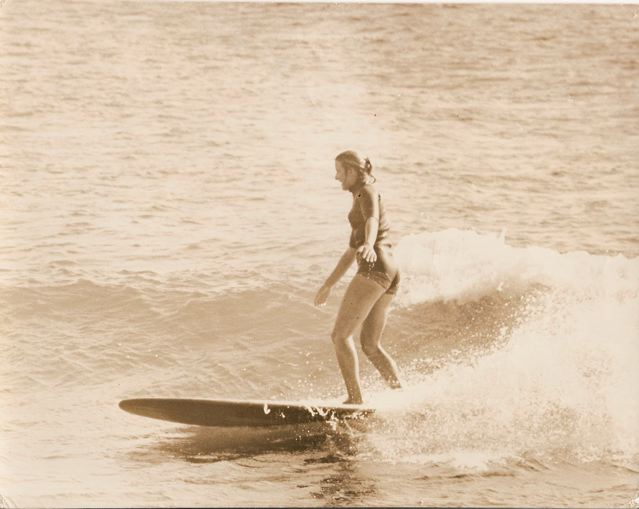 Shelley Merrick surfing Latigo in 1962. Photo from Merrick Family Collection.