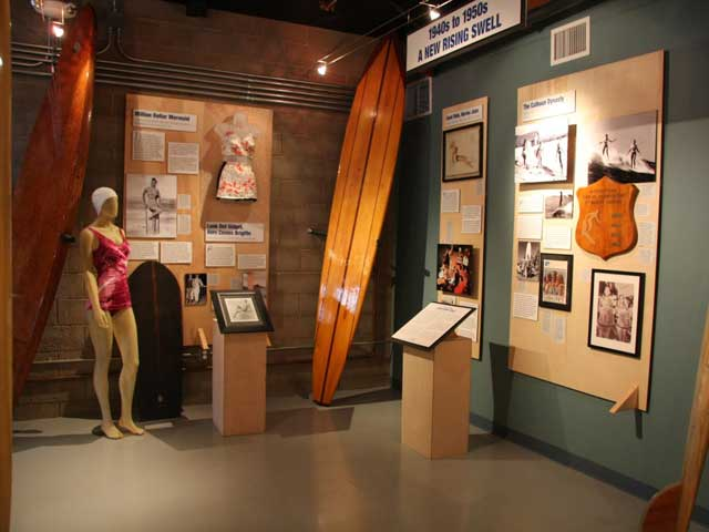1940s and 1950s Balsa and redwood hotcurl boards. Hollywood's Esther Williams and pioneer Marge Calhoun.