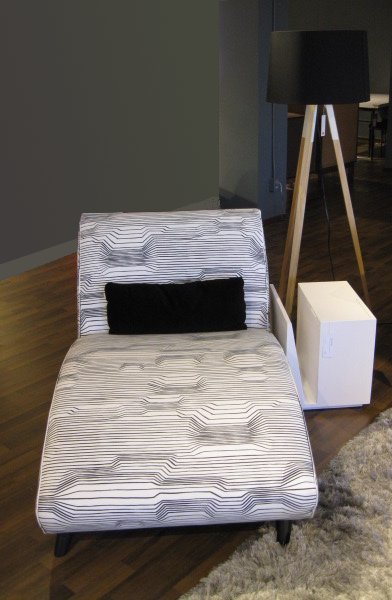 Clyo Chaise in Marimekko fabric at EQ3 Vancouver.