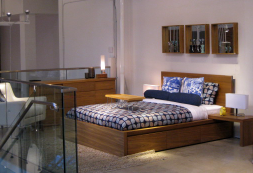Simple Bed Collection in walnut at EQ3 Vancouver