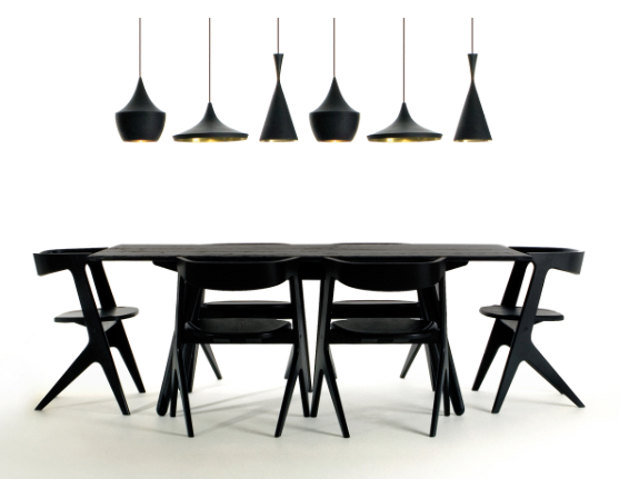 Tom Dixon Slab Dining Collection and pendants at Inform Interiors Vancouver.  Photo TomDixon.net