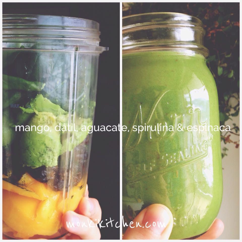 AGUACATE & MANGO   - 2 mangos chicos - 1/2 aguacate grande - 4 dátiles sin semilla - 1 cdta. de spirulina (pongo poquita porque tiene sabor muy fuerte) - puñado de espinacas - agua