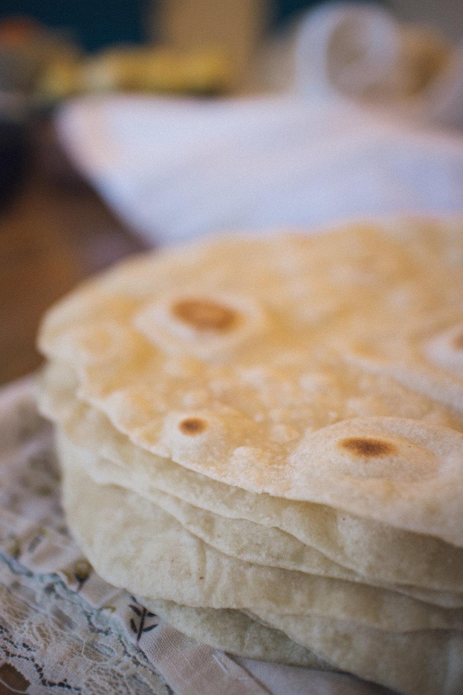 tortilla de harina con masa madre