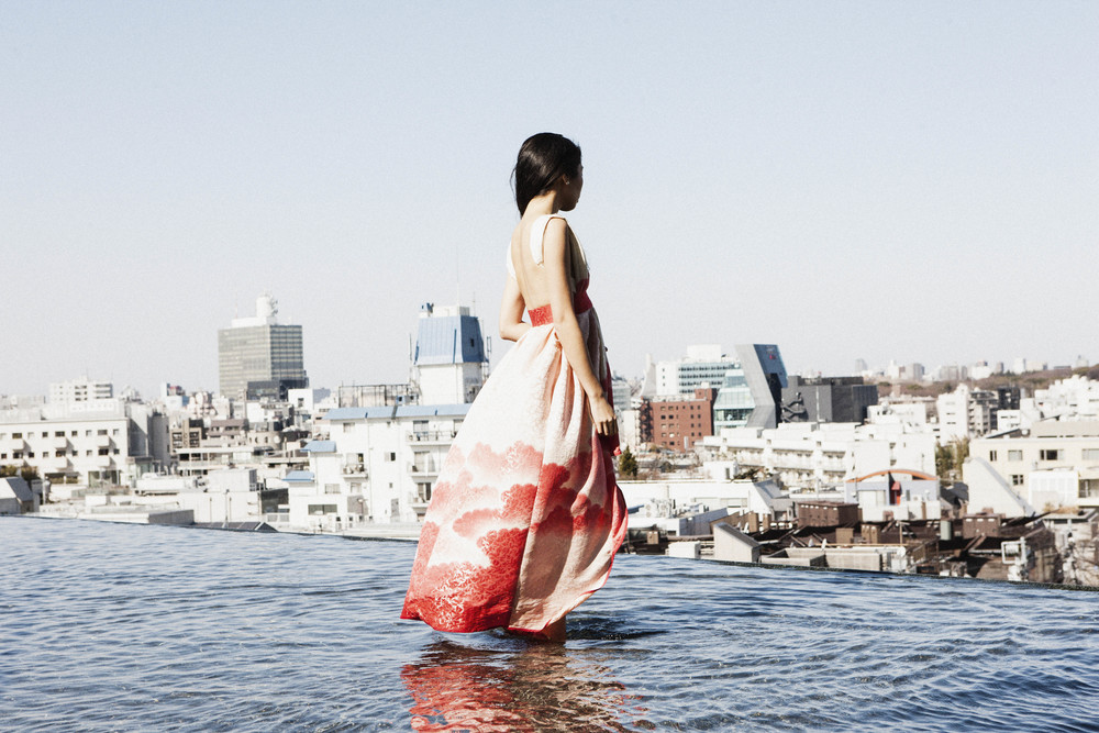 The WATERFALL frock created from a Tomesode Kimono