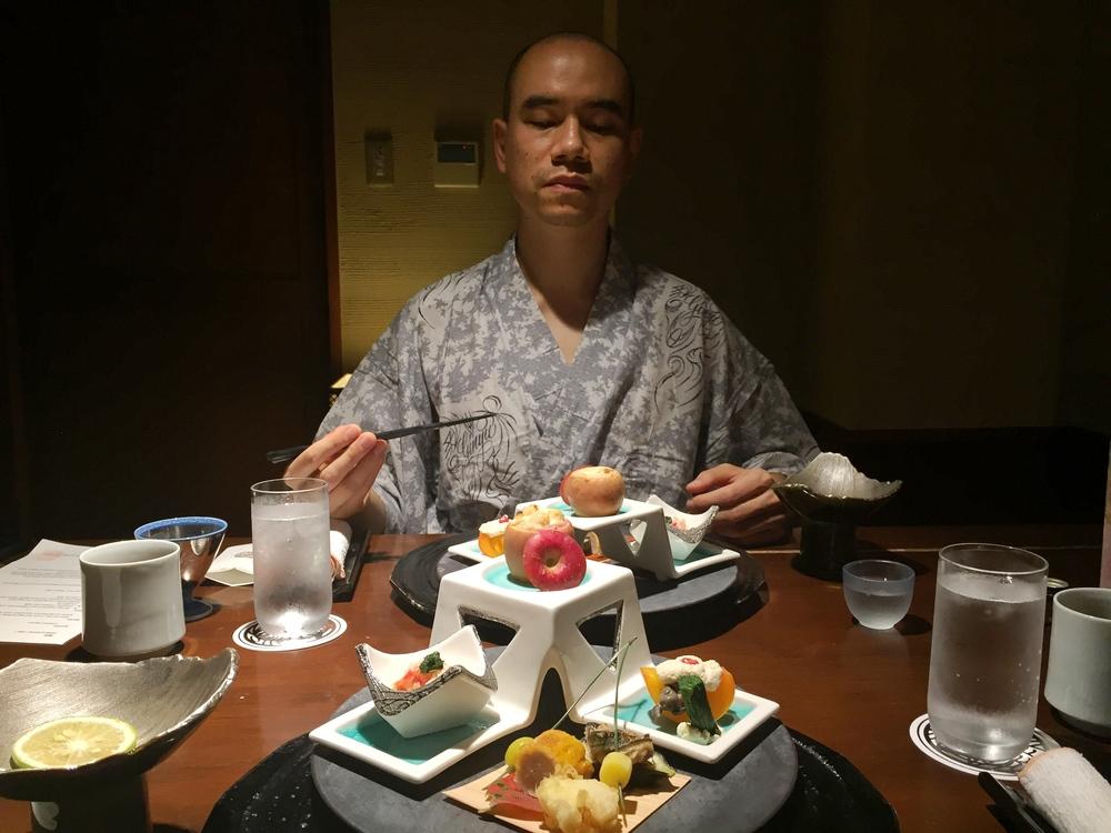 The dinner feast begins! Hubby doing his Shogun pose haha