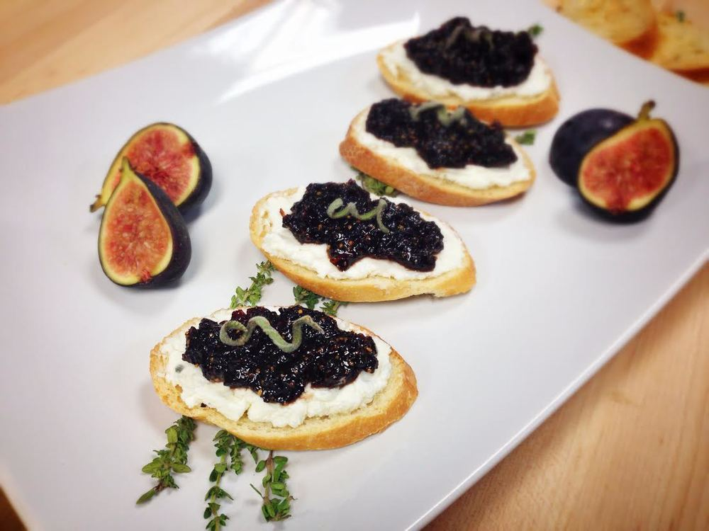 Drunken Fig Jam & Goat Cheese Crostini