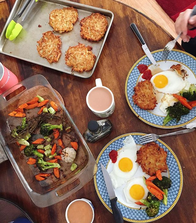 When you get carried away with making breakfast and wind up with six latkes, four eggs, and two pounds of roasted vegetables. Least we're not hungover. #breakfast #gotcarriedaway #homecooked #overboard #homemade #roasted #latkes #potatopancakes #teatime #roastedveggies #nomnom #foodies #foodlover #followthefood #EEEEEATS #foodcoma #eater #noms #nyceats