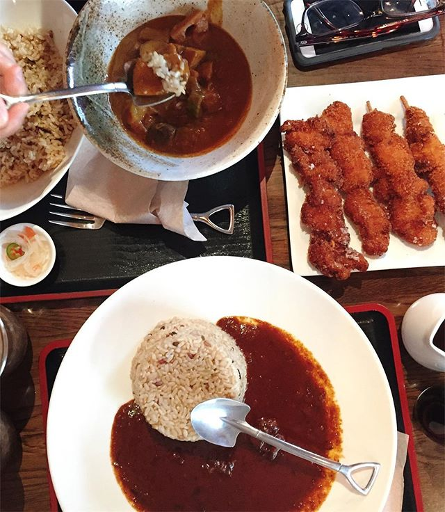 """Shovel spoons? Now we're talking my language. Few things more appropriate than a piping hot bowl of thick, spicy Japanese curry on a cold """"winter"""" day. #goemoncurry #japanese #curry #japanesecurry #lunch #nomnom #foodies #foodlover #followthefood #EEEEEATS #foodcoma #eater #noms #nyceats"""