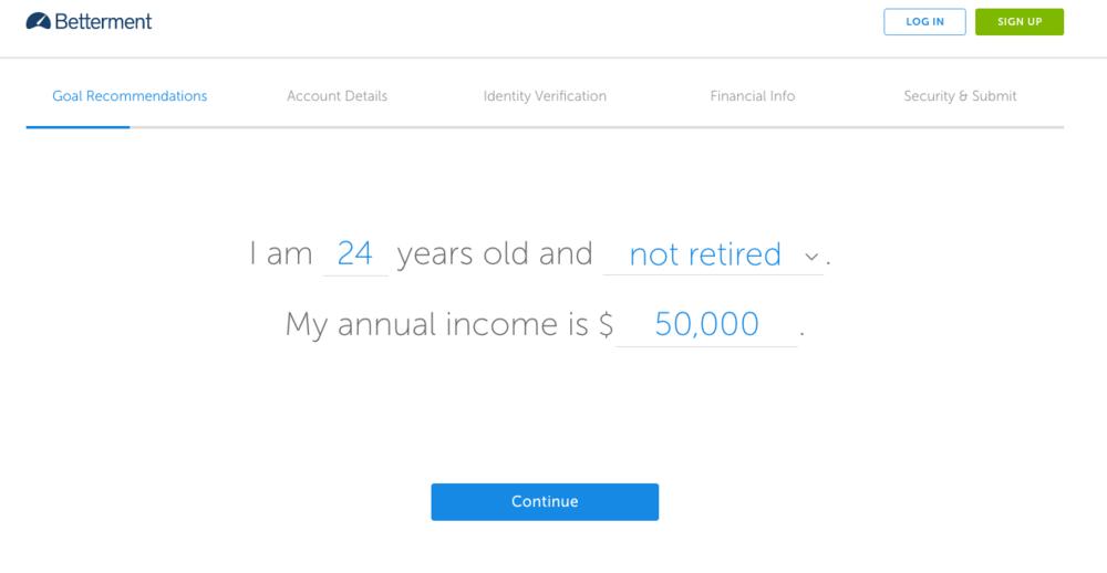 Betterment Retirement Set up