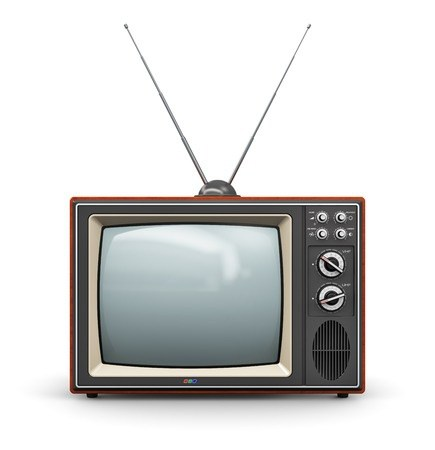 """Hipsters cheered everywhere when their rabbit ears no longer worked and these TVs turned into """"art"""". Image source."""