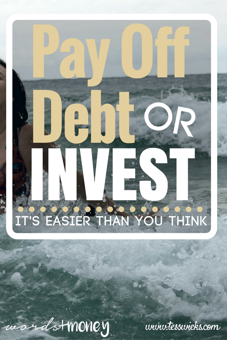 Love this! - Pay Off Debt or Invest? It's Easier Than You Think - And it really is! This post guides you through how to prioritize paying off debt or investing and makes it easy to understand how to finally make a decision (and stop freaking out about the future)! Thanks for pinning!