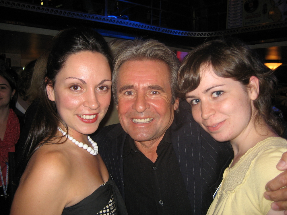 """My two daughters, Rachel and Katie with Davy Jones at the """"Blue Moo"""" launch Party."""