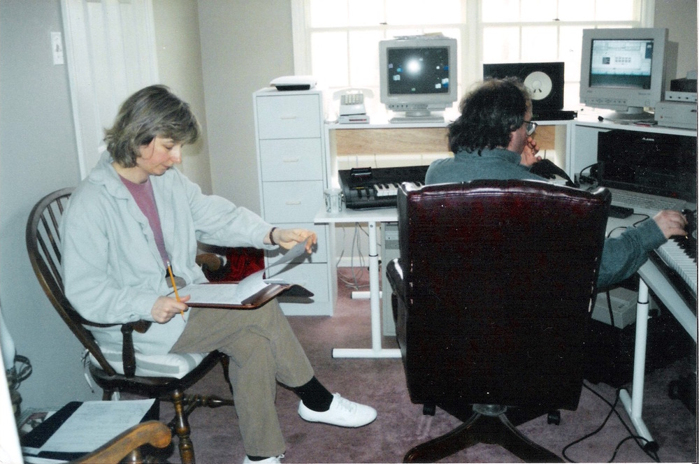 """Sandy and I in my """"dining room"""" studio in Malvern"""