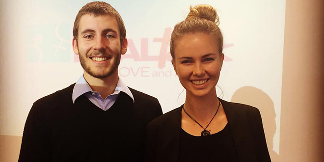 New Zealand Real Talk Presenters Thomas and Briegé at Aquinas College in April.