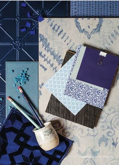 Create mood and opulence with dark blue tones.