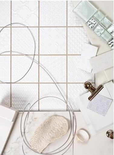 Keep it light with cool whites and metallics. Use texture to create interest and detail with this light palette.