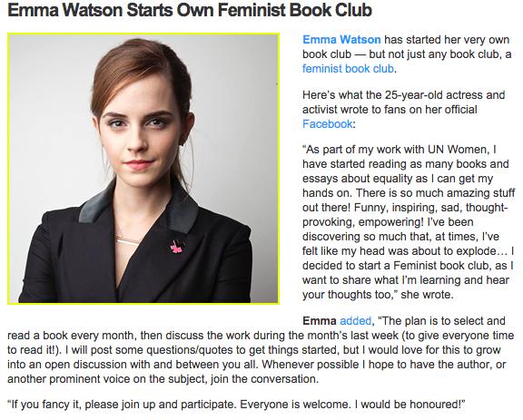 Emma Watson's Feminist Book Club