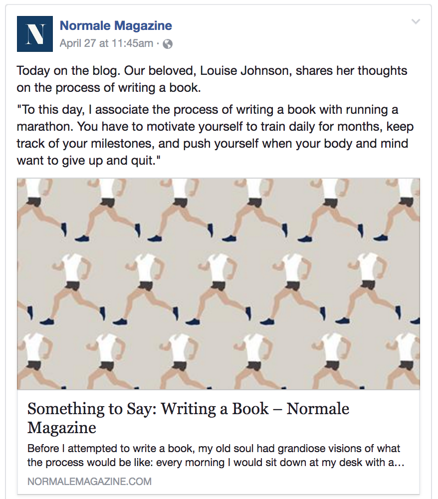 Louise Johnson - Normale Magazine - Writing a Book
