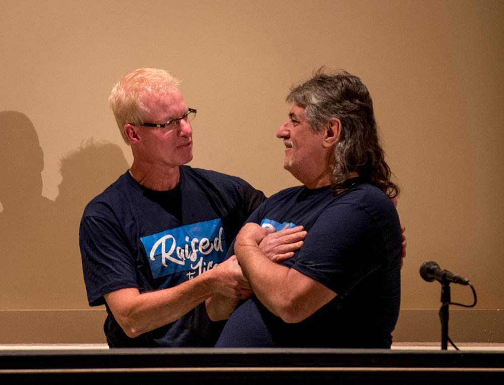 Bill Smith is baptized by Pastor Jeff on Easter Sunday.