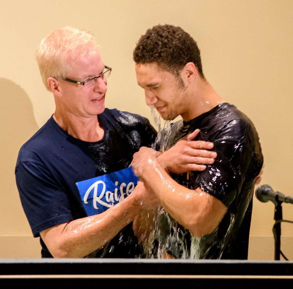 Pastor Jeff baptizes Harry Snyder on Easter Sunday.
