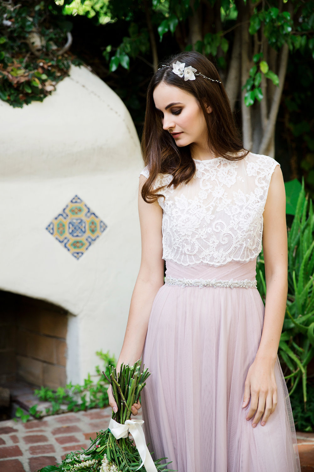 Billie corded lace topper, 715 pyrite hair vine and 336 embroidered flower sash