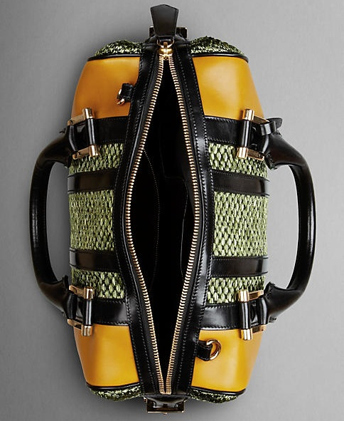 Burberry Tonal Raffia Bowling Bag