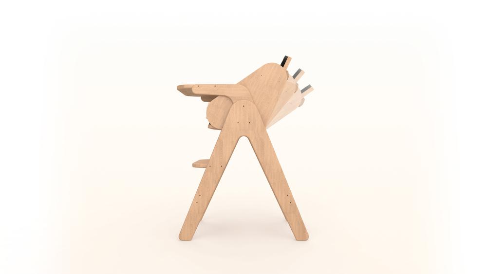 Guum Barcelona acaba de llençar la trona H!chair, feta de fusta i amb seient inclinable.