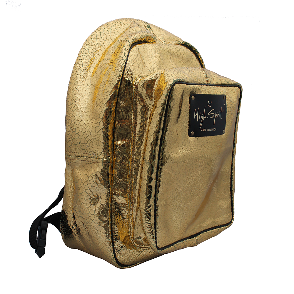 High Spirit Bags Cracked Gold Backpack F.png