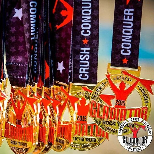 Guess what day it is? It's Medal Monday!  Share and tag us in your favorite Gladiator medal pic for a chance to win a free race entry! 2 winners announced on Wednesday. #gladiatorrocknrun #gladiatormudrun #mudrun #medals #medalmonday