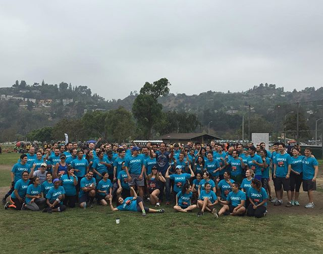 """Gladiator Rose Bowl 2016 Biggest Team Winner, Grifols Mud Runners! Congratulations to each and every 140+ of you who came and conquered the 6th Annual Gladiator Rock""""n Run together. #gladiatorrocknrun #rosebowl #gladiatorrun"""
