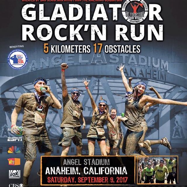 Gladiator invades Angel Stadium Sept 9th!  #gladiatorrocknrun #gladiatorrocknrun2017 #angles #thebiga #thehaloway #ocr #mudrun