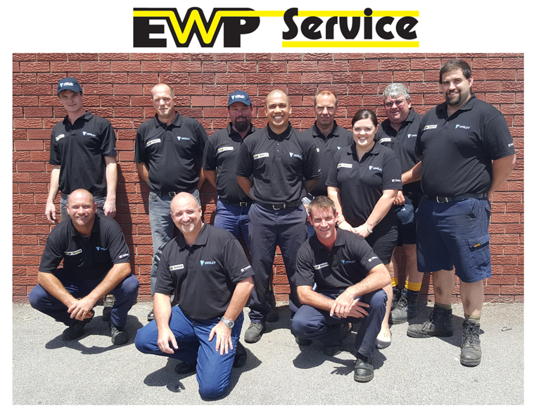 Pictured: the new EWP Service team, led by Local Manager Mark Taylor (front left), General Manager Greg Casey (front centre) and National Service Manager Glenn Barnett (2nd from left back row).