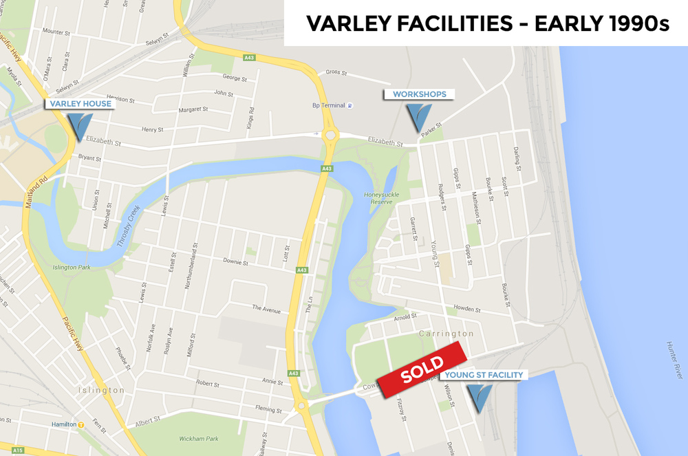 Pictured: a map of Varley's facilities in 1990, including the recently-sold Young Street premises.